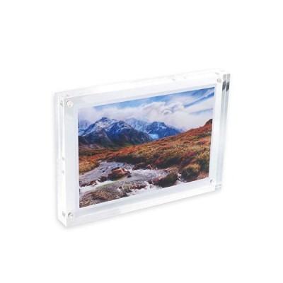 BBEST アクリル フォトフレーム ピクチャーフレーム はがきサイズ 写真 はがき 透明 両面使用可能 縦横 額縁 写真立て マグネット