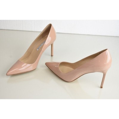 ハイヒール マノロブラニク Manolo Blahnik Stabipla 90 BB pumps Nude Patent Leather Heels Shoes 40.5