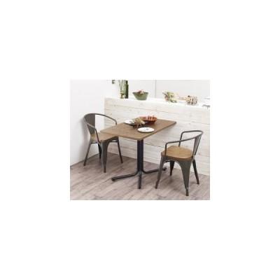 ソファ ソファー ヴィンテージカフェスタイルソファダイニング 3点セット テーブル+チェア2脚 アームチェア W100