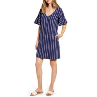 トッミーバハマ レディース ワンピース トップス Vista Stripe Flutter Sleeve Dress ISLAND NAV