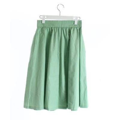 【中古】未使用品 クイーンズコート QUEENS COURT フレアスカート ひざ丈 2 緑 グリーン ミントグリーン /MR38 レディース 【ベクトル 古着】