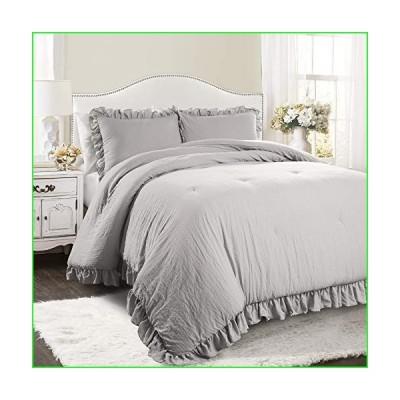 Lush Decor Light Gray Reyna Comforter Ruffled 3 Piece Set with Pillow Sham Full Queen Size Bedding