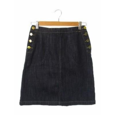 【中古】ダブルクローゼット w closet スカート タイト ミニ デニム ウエストゴム 青 ブルー /AH12 ☆ レディース