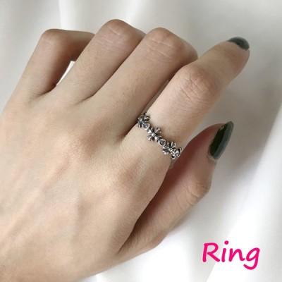 指輪 オープンリング レディース 女性 アクセサリー シルバー925 かわいい おしゃれ フリーサイズ 調節可能 ビンテージ風 ギフト プレゼント 雑