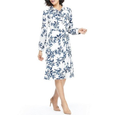マギーロンドン レディース ワンピース トップス Petite Size Printed Button Front Long Sleeve Midi Shirt Dress Soft White/Navy
