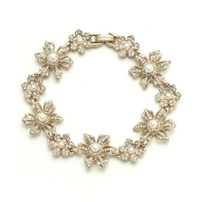 マルケッサ レディース ブレスレット・バングル・アンクレット アクセサリー Gold-Tone Crystal & Imitation Pearl Flower Flex Bracelet