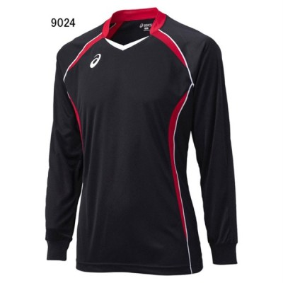 アシックス バレーボール ユニホーム ゲームシャツ ゲームシャツLS ブラック×Vレッド 9024 AS-XW1320-9024