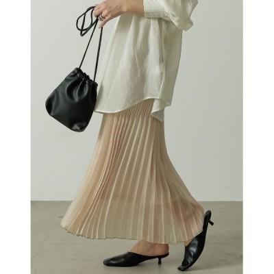 スカート [低身長サイズ有]ランダムプリーツシャイニーロングスカート