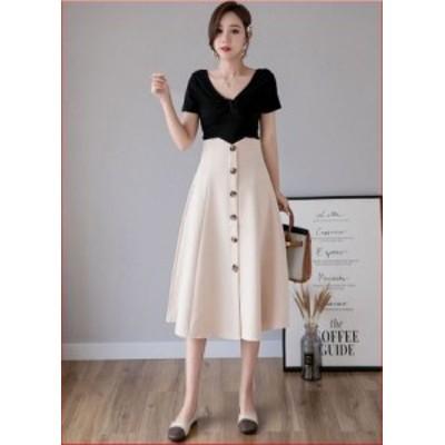 スカート 無地 ハイウエスト ボタン ひざ下丈 ミモレ丈 デザインスカート アプリコット ベージュ ブラック S M L XL 韓国