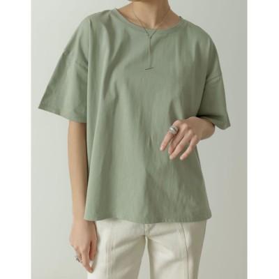 (Re:EDIT/リエディ)オーガニックコットンオーバーサイズベーシックTシャツ/レディース ライトグリーン