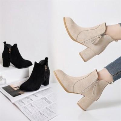 ショートブーツ ブーツ ポインテッドトゥブーツ チャンキーヒール ブーティー 靴 シューズ 防寒 ジッパー 美脚 レディース