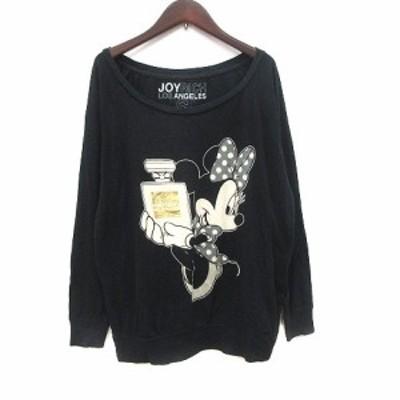 【中古】ジョイリッチ LOS ANGELES Tシャツ カットソー 長袖 ボートネック プリント ミニーマウス S 黒 ブラック