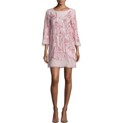 ワンピース マルケッサ ノッテ Marchesa Notte Beaded Floral Cocktail Dress Tunic Blush Pale Pink 4 16