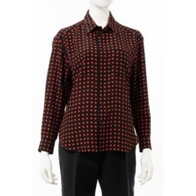 サンローランパリ SAINT LAURENT PARIS シャツ 長袖 ブラック×レッド レディース (551303 Y751U) 送料無料