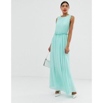 ユニーク21 レディース ワンピース トップス Unique21 sleeveless pleated maxi dress Green