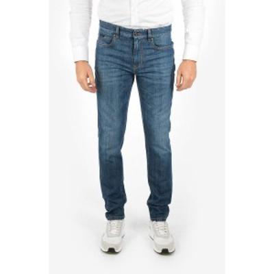 ERMENEGILDO ZEGNA/エルメネジルド ゼニア Blue メンズ ZZEGNA Stretch Cotton Slim Fit Jeans with Belt Loops 17 cm dk