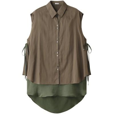 Rito リト 【予約販売】ドビーストライプトリアセサテンレイヤードシャツ レディース カーキ 38