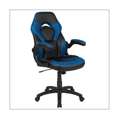 Flash Furniture X10 Gaming Chair Racing Office Ergonomic Computer PC Adjustable Swivel Chair with Flip-up Arms, Blue/Black LeatherSoft, BIFMA Certifie