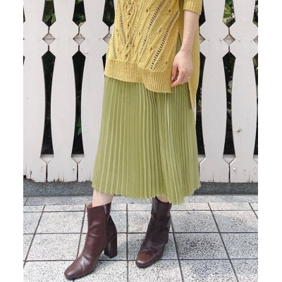 【ビッキー】 レザーライクプリーツスカート レディース グリーン M VICKY