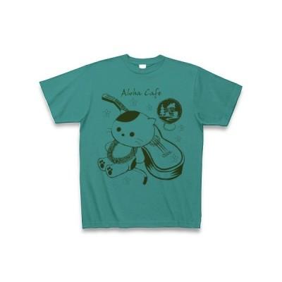 アロハ・カフェ「猫とウクレレ」 Tシャツ(ピーコックグリーン)