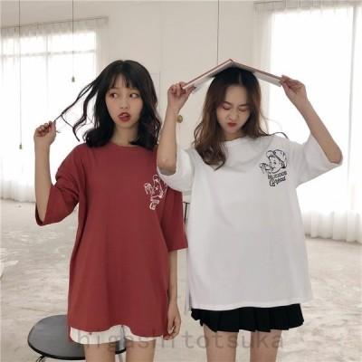 レディース半袖TシャツバックプリントプリントTシャツ胸ワンポイント
