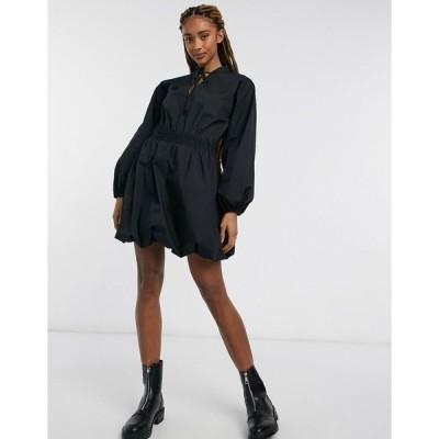 エイソス レディース ワンピース トップス ASOS DESIGN cotton poplin bubble hem mini dress with shirred waist in black Black