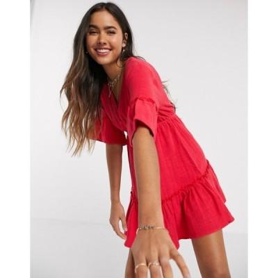 ビラボン レディース ワンピース トップス Billabong X Sincerely Jules Lovers Wish tiered mini smock dress in red