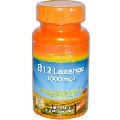 B12 錠, ナチュラルなチェリーの香り, 1000ミリグラム, 30 錠