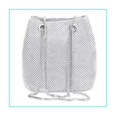 【新品】Selighting Rhinestones Crystal Clutch Evening Bags for Women Crossbody Shoulder Bucket Bags Prom Party Wedding Purses (One Size, Silver Bu
