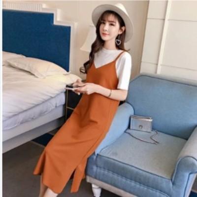 韓国 ファッション レディース 大きいサイズ 2点セット ジャンパースカート ワンピース スカート ニット リブニット リブ ミモレ丈 タイ
