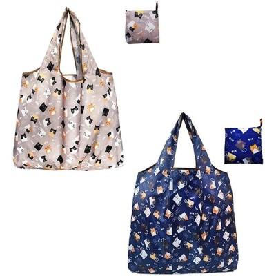 エコバッグ 買い物バッグ 買い物袋 コンビニバッグ 折りたたみ 人気 大容量 軽量 防水素材 携帯便利 2枚セット 40*40*4cm (03-猫)