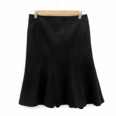 【中古】ボッシュ BOSCH スカート トランペット フレア ひざ丈 ウール 38 ブラック 黒 /MS19 レディース