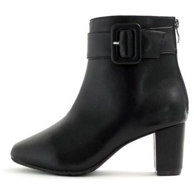 ブーツ 【masyugirl(マシュガール)】【4E/幅広ゆったり・大きいサイズの靴 ベルト使いミドルヒールブーツ】