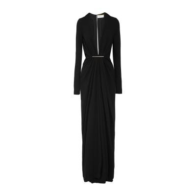 SAINT LAURENT ロングワンピース&ドレス ブラック 36 アセテート 57% / レーヨン 43% ロングワンピース&ドレス