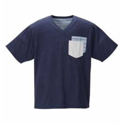 大きいサイズ メンズ Free gate 汗じみ軽減 ポケット付 Vネック 半袖 Tシャツ ネイビー 1258-0202-2 3L 4L 5L 6L 8L