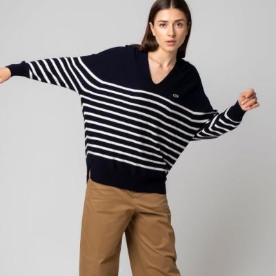 ラコステ LACOSTE Vネック無縫製セーター (ネイビー)