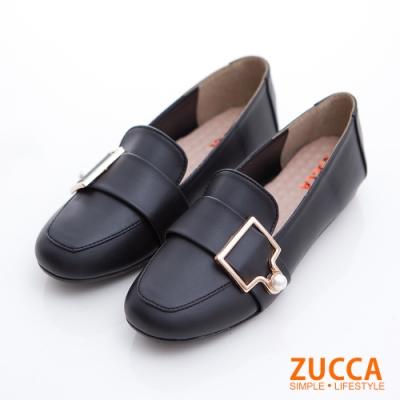 ZUCCA-珍珠金屬皮革平底鞋-黑-z6809bk