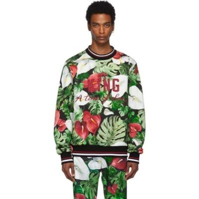 ドルチェ&ガッバーナ Dolce & Gabbana メンズ スウェット・トレーナー トップス Green & Black Anthurium Sweatshirt Multicolored