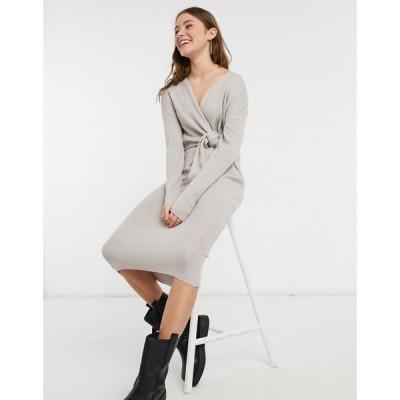 スタイルチート Style Cheat レディース ワンピース ラップドレス ミドル丈 ワンピース・ドレス Loren Wrap Knit Midi Dress With Tie In Grey グレー