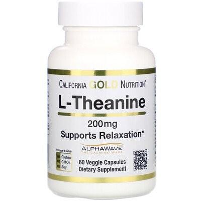 L-テアニン、AlphaWave(アルファウェーブ)、リラックスできるようサポート、穏やかな集中力、200mg、植物性カプセル60粒