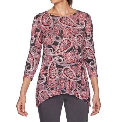 ルビーアールディー レディース Tシャツ トップス Petite Size Paisley Eclipse Print 3/4 Sleeve Sharkbite Hem Knit Top