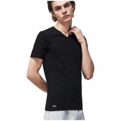 ラコステ メンズ シャツ トップス 3-Pack V-Neck Regular Essential T-Shirt Black