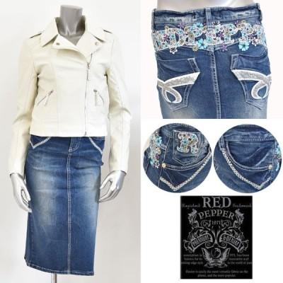REDPEPPER(レッドペッパー)ロゴ×フラワー刺繍デニムタイトスカート