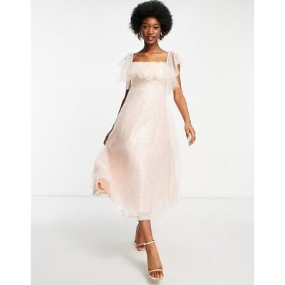 フォーエバー ユー レディース ワンピース トップス Forever U organza bardot midi dress in pink sequin Pink