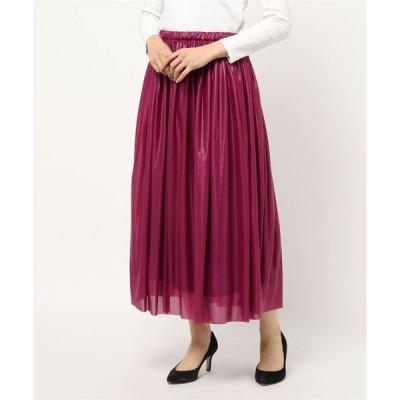 スカート 【日本製】ギャザーシャイニースカート