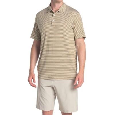 プーマ メンズ ポロシャツ トップス Caddie Brown Stripe Golf Polo GREEN