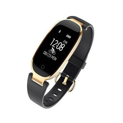 (black) - WFCL Fitness Tracker, Waterproof Activity Tracker with Pedometer Step and Sleep Monitor Calorie Counter Smart Bracelet for Women