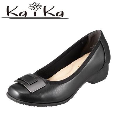 カイカ kaika KA1550 レディース ウェッジソールパンプス 大きいサイズ対応 25.0cm ブラック