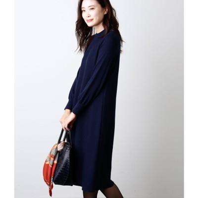ニューヨーカー NEWYORKER Premium Knit Dress/Aラインニットワンピース (ネイビー)