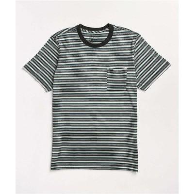ボルコム VOLCOM メンズ Tシャツ トップス Volcom Cornett Blue, Black, & White Stripe T-Shirt Blue